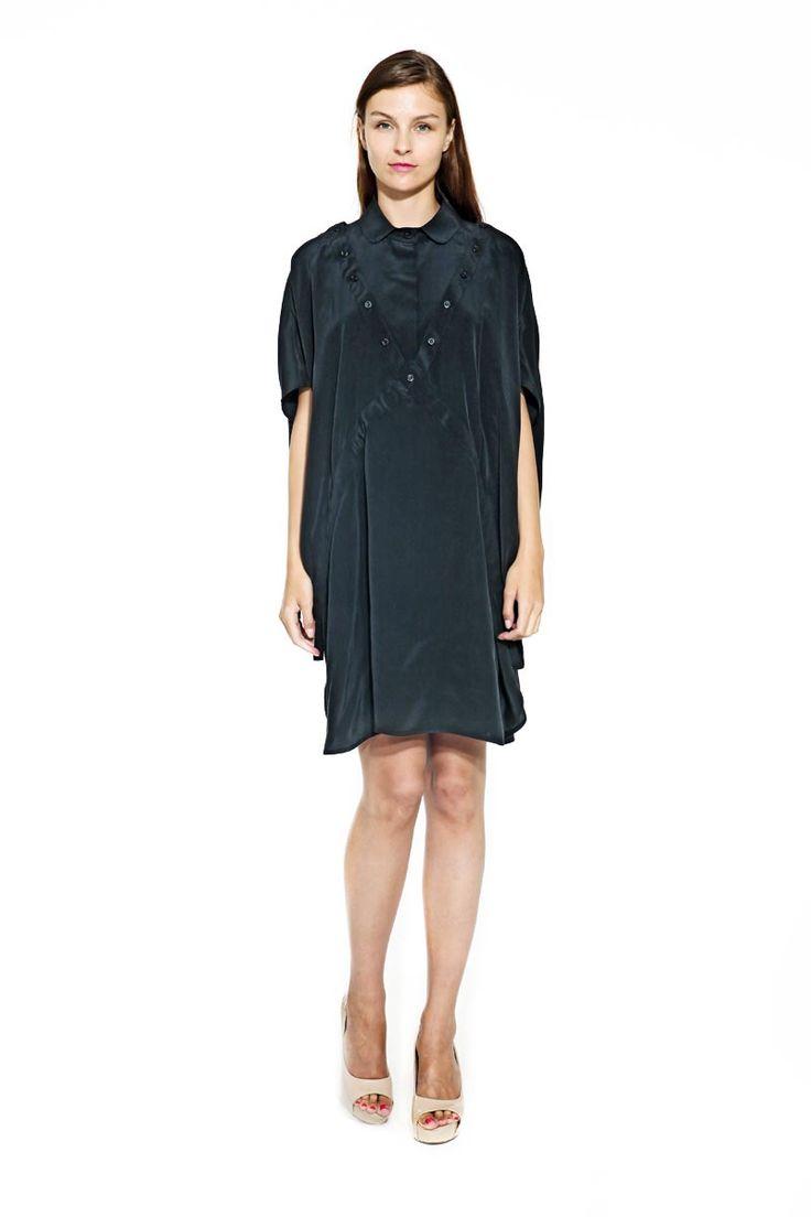 IMRECZEOVA SS14 black silk dress with detachable collar
