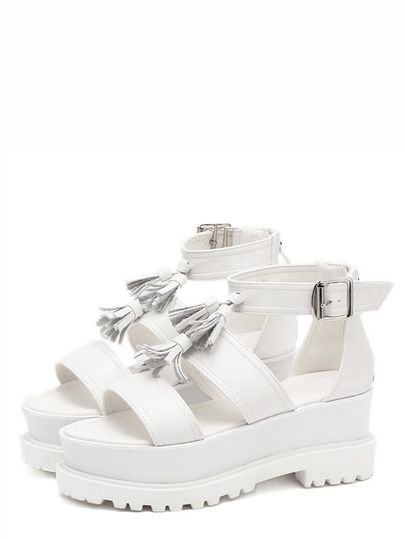 Cuña peep toe flecos - blanco-Spanish SheIn(Sheinside)