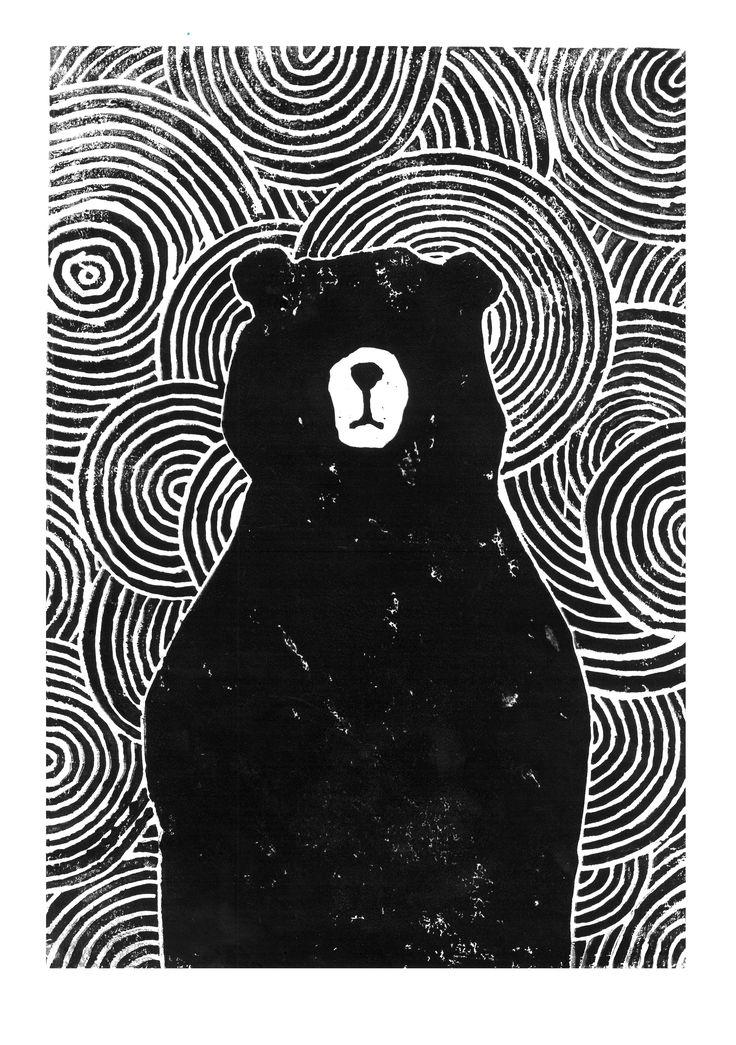 Lino cut of a black bear. James Moffitt