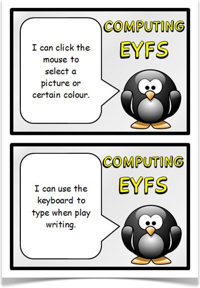 """Computing Targets (EYFS) - Treetop Displays - A free set of 13 computing target """"I can"""" statements on A5 cards for children working in Early Years Foundation Stage. Each card is presented with a themed penguin character. Includes spare for teachers' own use. Designed by teachers for Early Years (EYFS), Key Stage 1 (KS1) and Key Stage 2 (KS2)."""