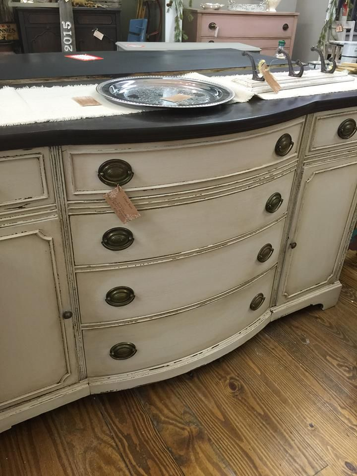Vintage Shabby Farmhouse Hepplewhite Buffet Sideboard MMSP Marzipan Milk Paint With Antiquing Wax And General Finishes