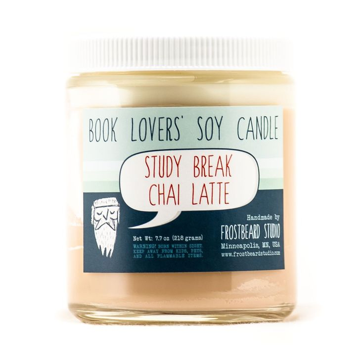 Study Break Chai Latte soy candle front view