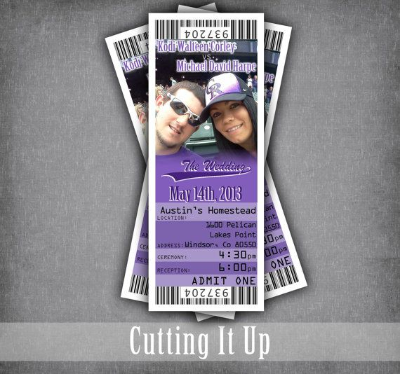 Colorado Rockies Baseball Wedding Invitation Tickets by CuttingItUp on Etsy