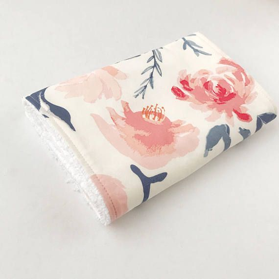 Watercolour Floral Burp cloth, burp cloth girl, baby girl gift, baby burp cloth, burp rags, baby girl burp cloth, baby shower gift, newborn gift, burpees Watercolour floral burp cloth: Adorable baby girl burp rags in classically beautiful pink and blue floral pattern. Baby burp cloth