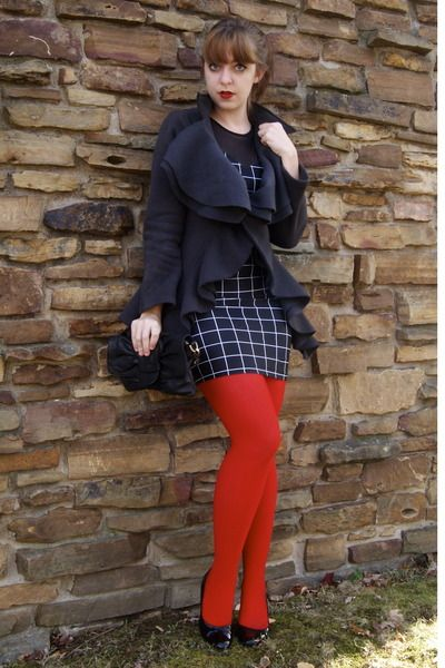 black flats red pantyhose | red We Love Colors tights - black thrifted shoes - black American ...
