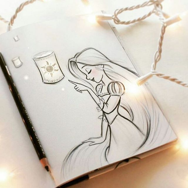 """""""All at once everything looks different, now that I see you.""""  –    #art #sketch #disney #fanart #tangled #rapunzel #love #positivity #courage"""