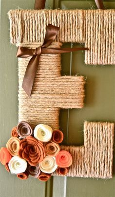 Fall Twine Personalized Monogram Wreath in brown, white and oranges