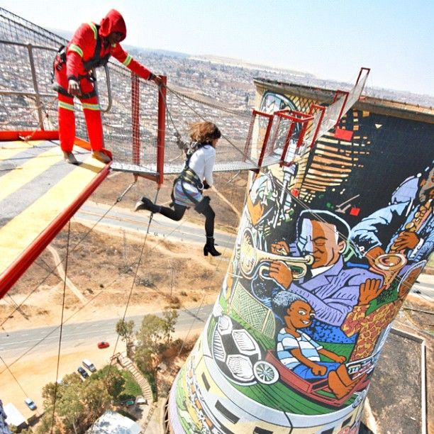 Art and BASE Jumping at South Africa's Orlando Towers
