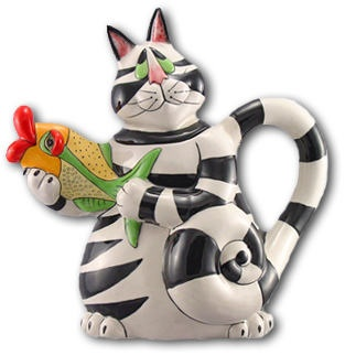 Sealed With A Kiss Clancey Cat Teapot With Colorful Fish Spout