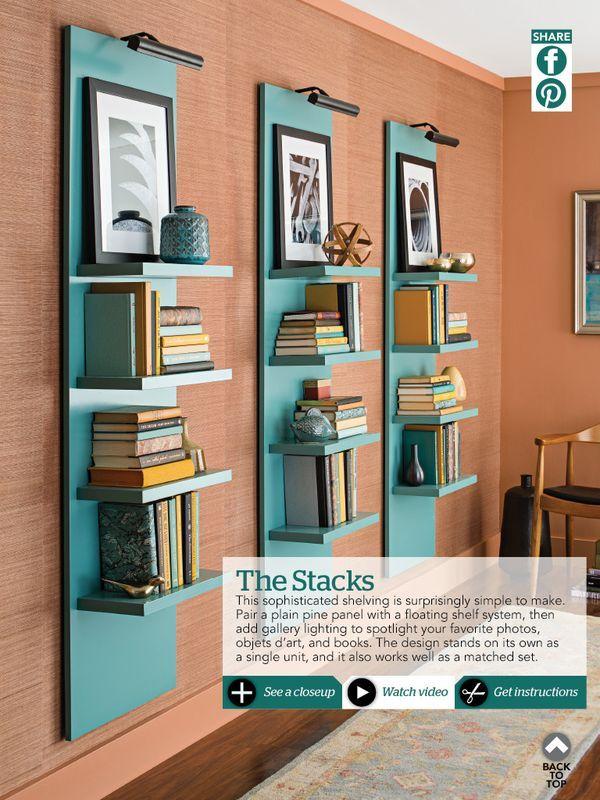 Nice book shelf/art display look