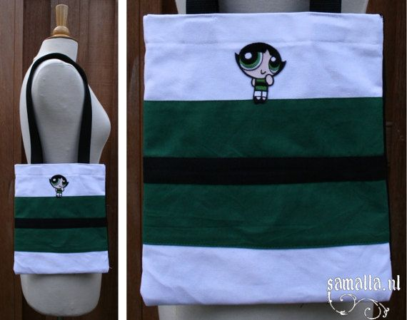 Baby Tote  Buttercup  black white and green small by SamallaNL