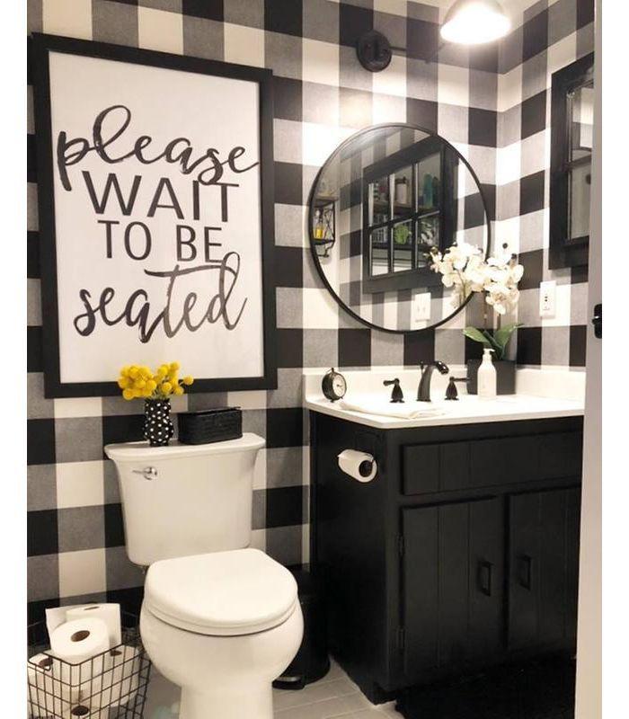 Devine Color Buffalo Plaid Peel Stick Wallpaper Black And Lightning Black Beige In 2020 White Bathroom Decor Plaid Decor Plaid Living Room