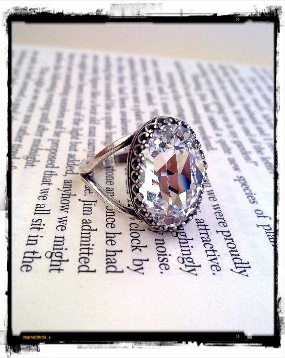 Swarovski Crystal Gothic Ring, Victorian Gothic Jewelry