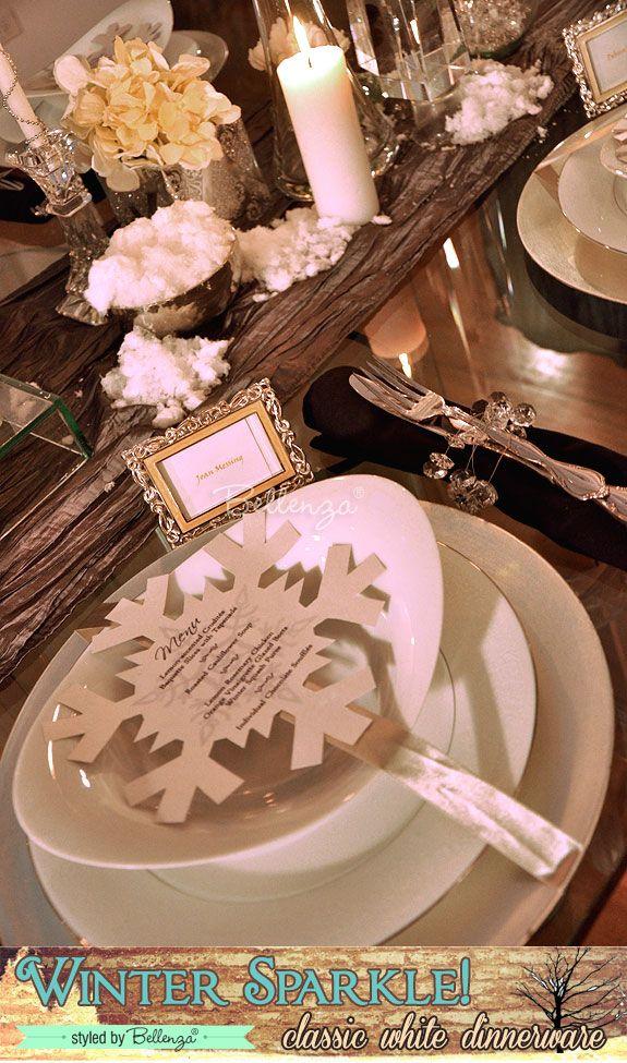 Winter Wonderland Wedding Place Settings a Glam