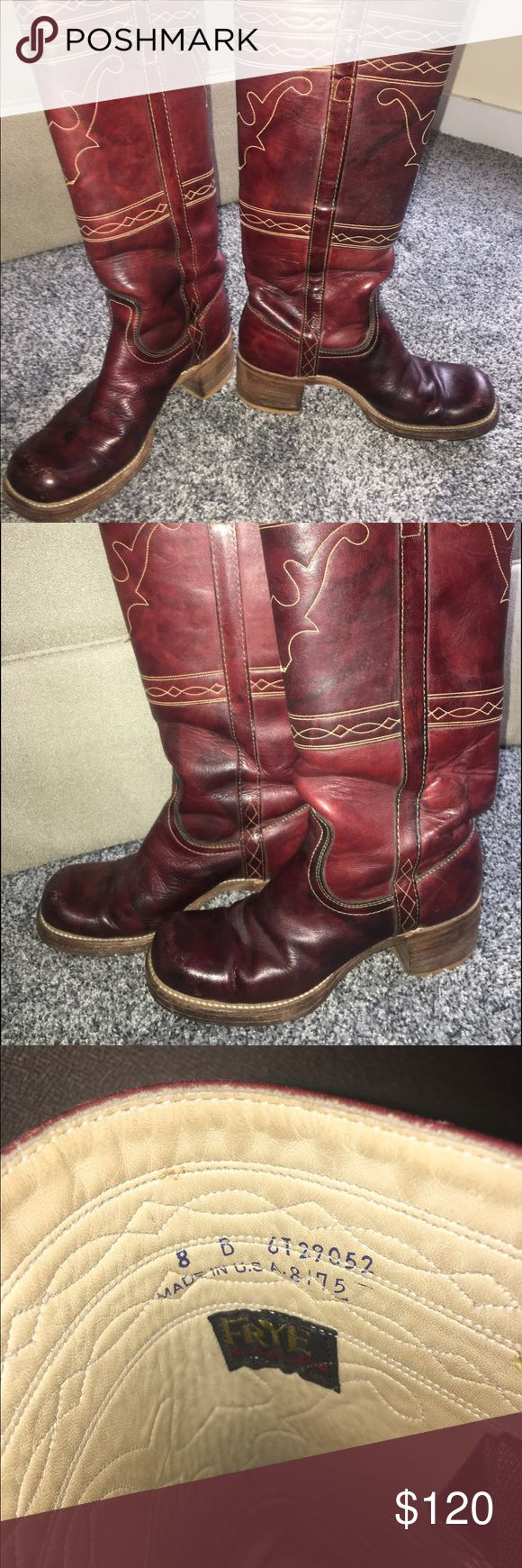 Leather Frye Riding Boots Gently used red Frye riding boots. These a beautiful but do not fit me. There are some scuff marks on the toes of both boots (from riding, of course!). Please send me any questions. :) Frye Shoes Heeled Boots