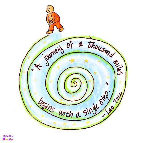 Buddha Doodle - 'A Single Step' by Mollycules