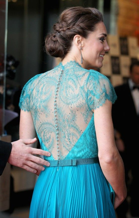 Close up - exquisite back of Jenny Packham gown that the Duchess of Cambridge wore for the London Olympic Gala concert [2nd of two pins]