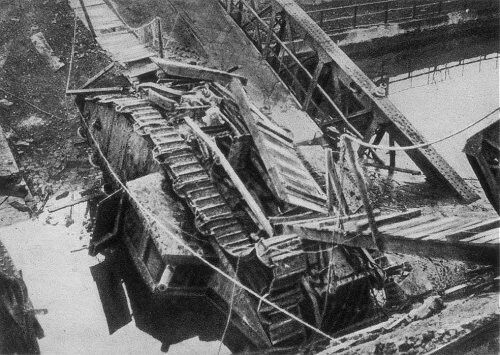 "British tank ""Flying Fox"", stuck fast and blocking the key canal bridge at Masnieres."