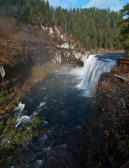 From the Upper Mesa Falls viewing area north of Ashton, Idaho. Beautiful falls along the Mesa Falls Scenic Byway from Ashton to West Yellowstone.