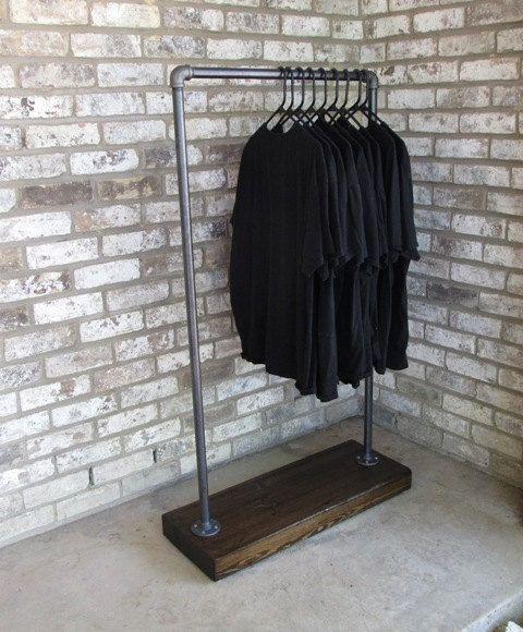 Block style clothing rack garment rack coat by Vintagesteelandwood