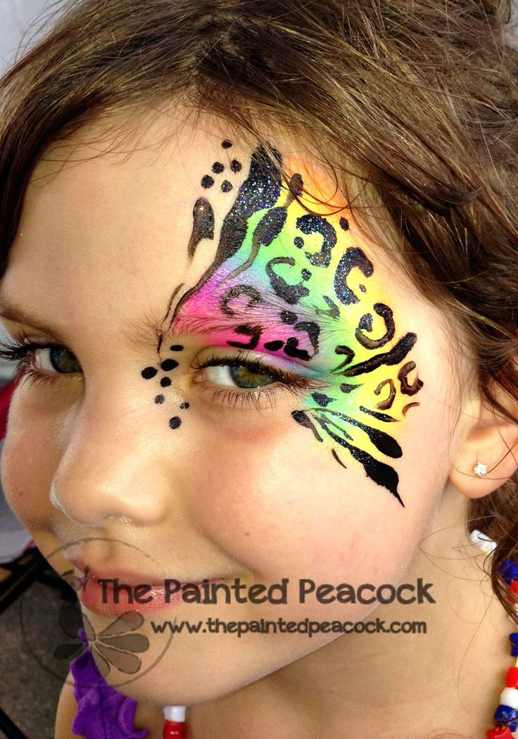 wild eye face paint, rainbow Annie Clouse, artist from The Painted Peacock Cool design!