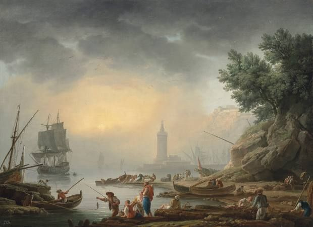A Mediterranean seaport with fishermen unloading cargo by Claude Joseph Vernet, £300,000-£500,000