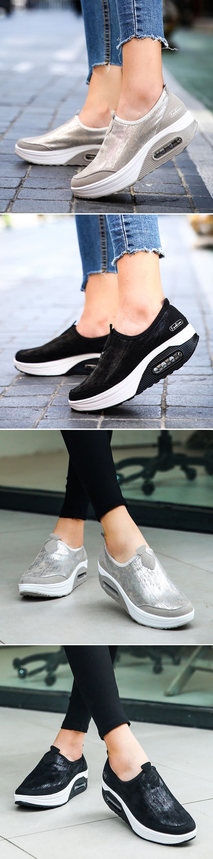 47% OFF! US$32.20 Comfortable Rocker Sole Slip On Shake Casual Shoes. SHOP NOW!