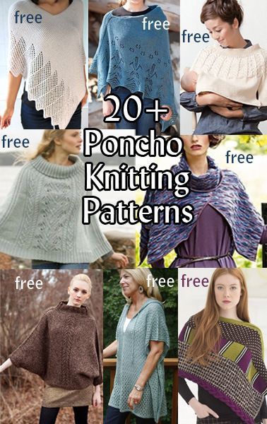 Poncho Knitting Patterns with many free patterns at http://intheloopknitting.com/poncho-knitting-patterns/