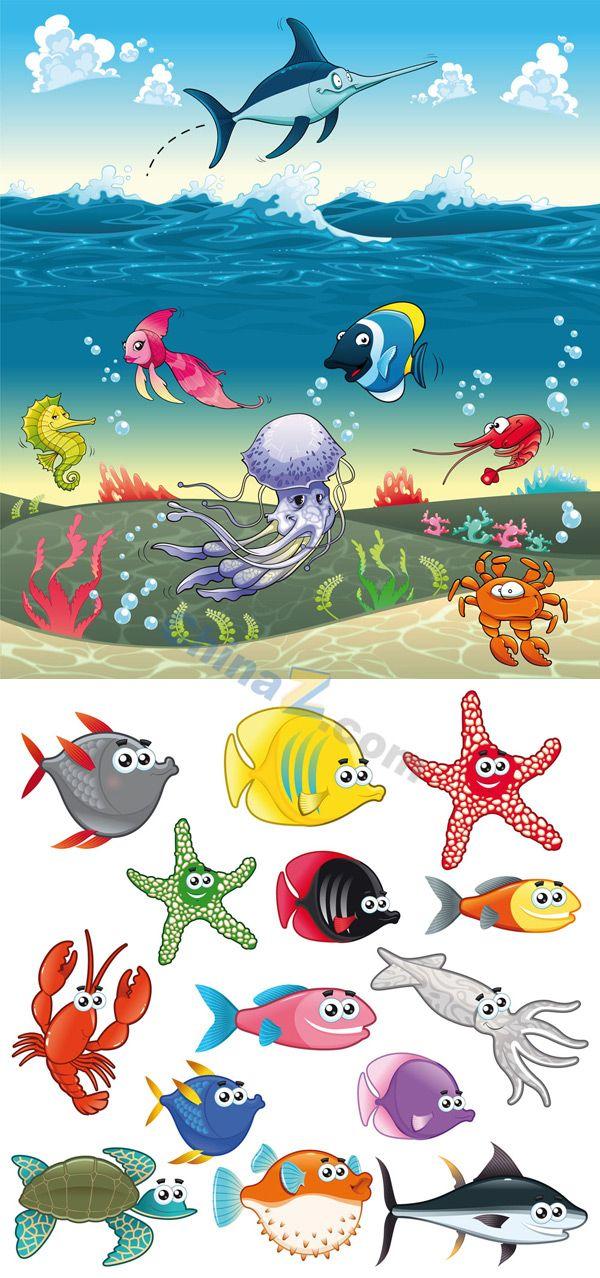 Download cartoon vector material of marine life