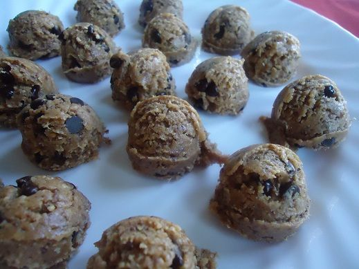 Oh my gosh! Healthy Chocolate Chip Cookie Dough Bites  1/2 cup creamy raw almond butter (I like Maranatha brand)  1/4 cup, plus 1 tbsp raw honey  1/2 tsp vanilla extract  1/4 cup, plus 1 tbsp coconut flour  3 tbsp ground golden flax seed  1/4 tsp sea salt  1/4 cup fair-trade dark chocolate chips or carob chips