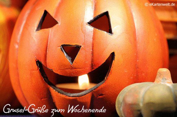 Grusel-Grüße zum Wochenende, animierte neutrale Halloween eCard
