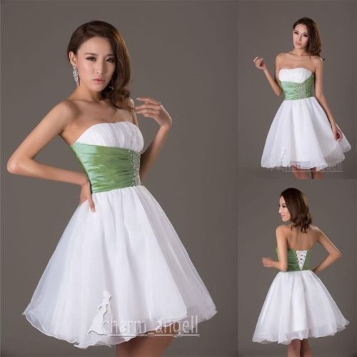 Popular-Mini-Short-Prom-Party-Cocktail-Evening-Homecoming-Dress-White-Green-SZ8