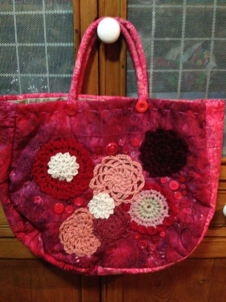 HOT PINK CARNATION BAG Batik dyed fabric bag. Fully lined. Crotched wool motifs and sewn buttons. See my store at www.madeit.com.au/HookandBobbin