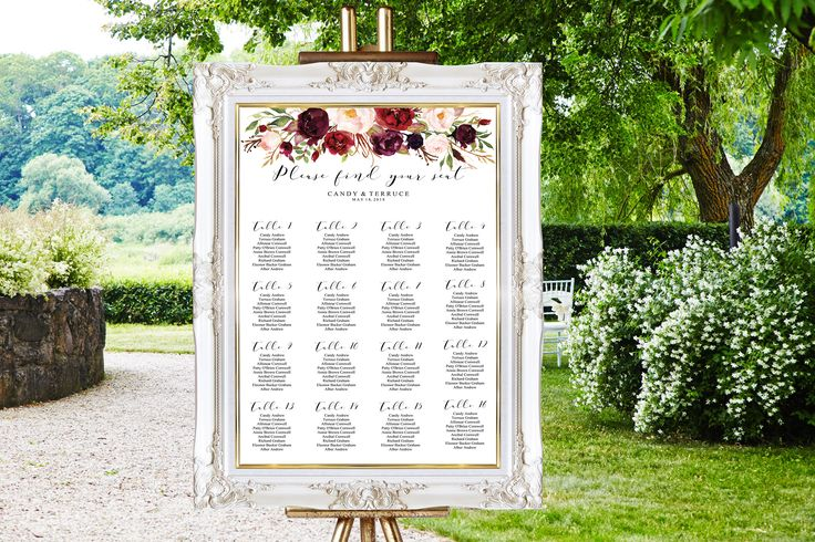 Wedding Seating Chart Template, Marsala Seating chart, Burgundy Seating chart, Seating Plan template, Seating PDF Instant Download, FL16 by MomentiDesignStudio on Etsy https://www.etsy.com/listing/514023020/wedding-seating-chart-template-marsala