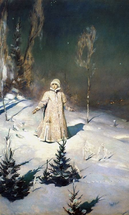 Snegurochka, by Victor Vasnetsov, 1889. Snegurochka is the title character of a Russian fairy tale, a beautiful maiden made of snow and an essential part of Russian New Year's celebrations. Every version of the story, however, ends with her demise due to her longing for human companionship. *Follow link for more of the story