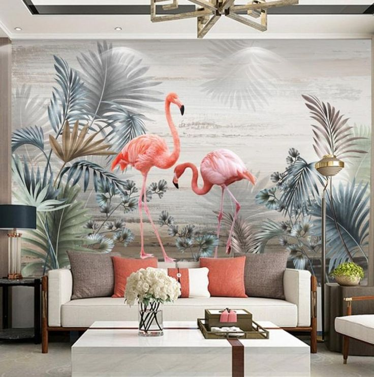 Hand-painted Nordic Plant Leaves and Birds TV Background Wall Painting , Big Flowers Wall Art Wall poster Living Room