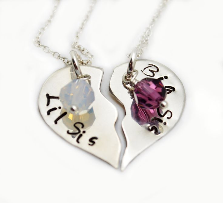 Broken Heart Necklace Set of 2, Little Sis, Big Sis, Personalized Jewelry, Best Friends, Love, Valentine's Jewelry