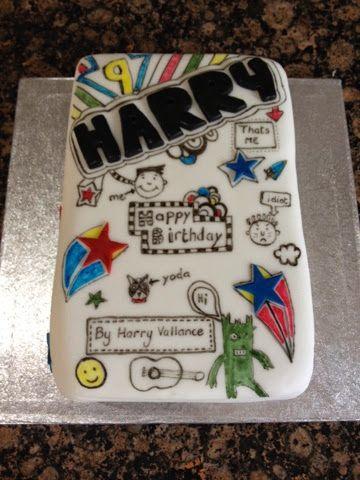 Tom gates book cake and Harry's birthday.
