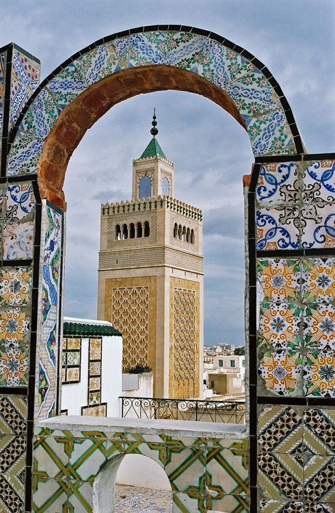 Minaret of Al-Zaytuna Mosque, Tunis, Tunisia - 13th oldest location of mosque in the world - founded 709AD