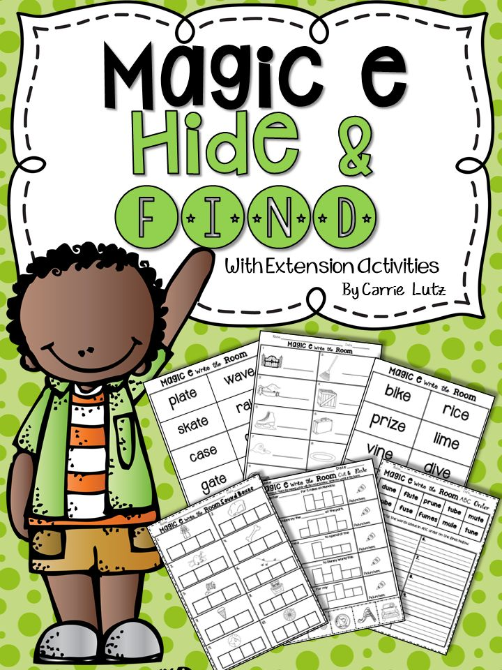 Hide and Find~ Magic e Combining Skills ~ that's what helps kids learn! Magic E ~ Hide and Find A fun way to learn and apply the magic e rule. In this product, I have combined reading, spelling, phonics/phonemic awareness, alphabetizing, and comprehension skills.