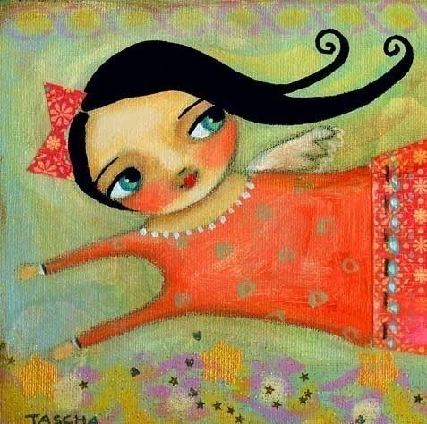 Flying Free Angel 10x5 print of painting by TASCHA by tascha