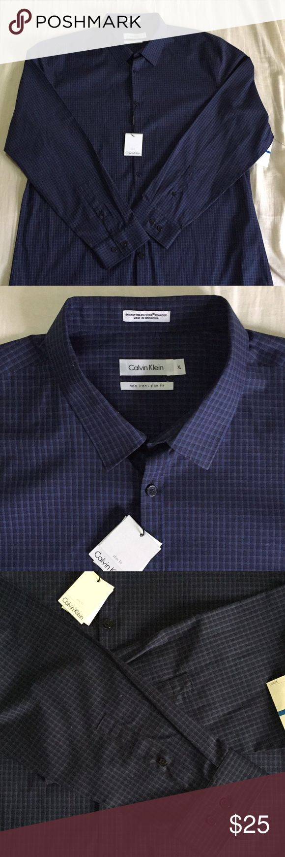 New Calvin Klein non iron dress shirt XL retail 58 Calvin Klein dress shirt size XL . Blue with black buttons, and a nice appealing design on the cotton material . Non iron shirt . Brand new retails $58.00 Calvin Klein Shirts Dress Shirts