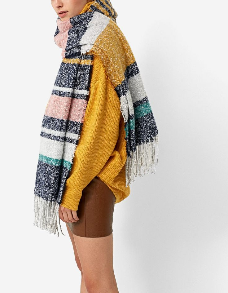 Multicoloured striped scarf - Scarves | Stradivarius United Kingdom - Winter Sale