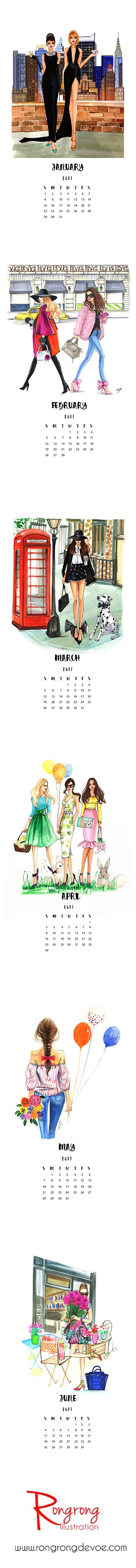 Illustrated fashion calendar by Houston fashion illustrator Rongrong DeVoe, hand illustrated and made in USA, check the calendar at www.rongrongillustration.etsy.com