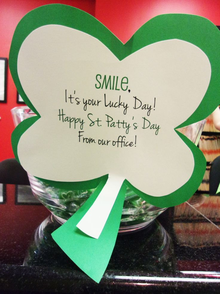 Giveaways for the patients! St. Patrick's Day 2016 Dr