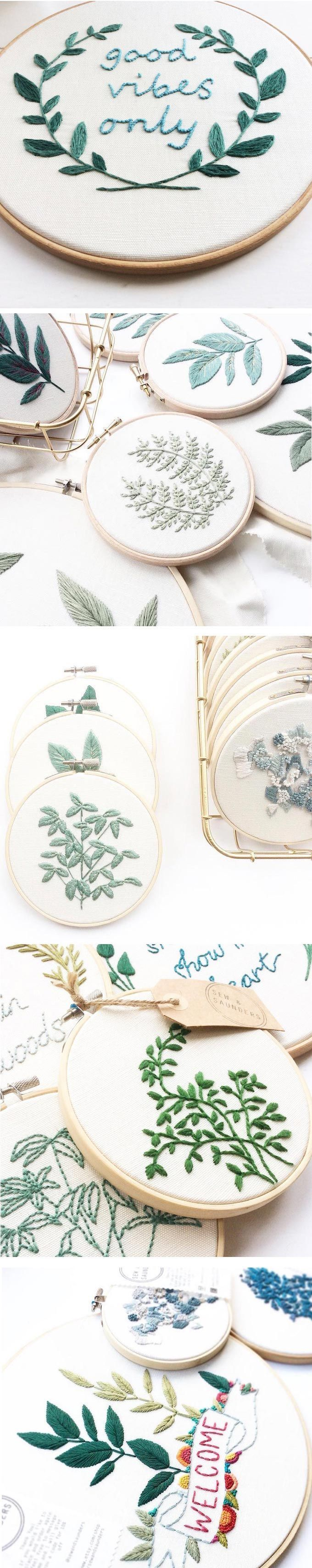 Like the idea of different leaves in frames.  Embroidery.
