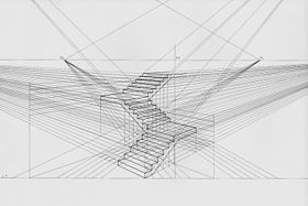 Staircase in 2-point perspective.