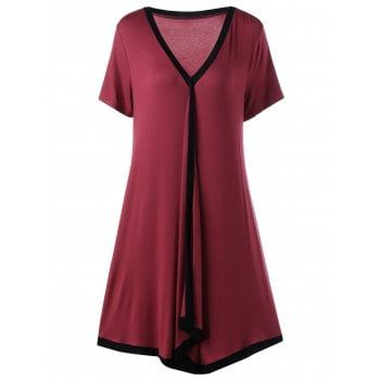 SHARE & Get it FREE | Plus Size Asymmetric Ringer Tee Casual DressFor Fashion Lovers only:80,000+ Items·FREE SHIPPING Join Dresslily: Get YOUR $50 NOW!