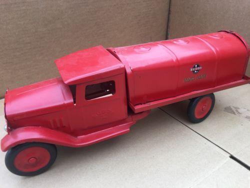 Vtg Pressed Steel Buddy L Tankline Gas Oil Tanker Antique Toys Truck 1930's?