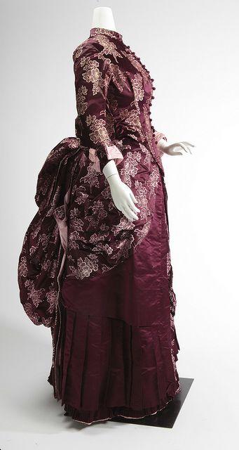 Two-piece satin dress, ca. 1880